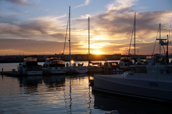 The Jack London Square harbor in Oakland